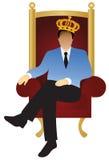 Un homme d'affaires réussi s'assied comme un roi (v illustration stock