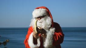 Un homme dans un costume de Santa Claus mangeant la banane sur le bord de la mer banque de vidéos