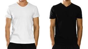 Un homme dans un T-shirt blanc et noir propre vide Front View OIN images libres de droits