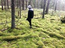 Un homme dans une veste noire marche par un marais envahi avec de la mousse et l'herbe vertes parmi les arbres dans la forêt image libre de droits