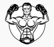 Un homme de boxeur dans des gants de boxe Dirigez l'illustration d'un athlète avec un physique sportif gagnant Athlète noir et bl Photo stock