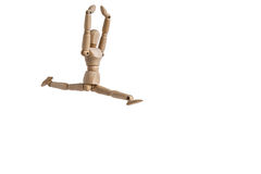Un homme en bois de poupée exécutent une danse et une flexibilité Images libres de droits