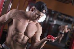 Un homme est engagé dans le bodybuilding dans le gymnase, soulève la barre et forme ses muscles photographie stock