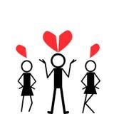 Un homme et deux filles Image libre de droits