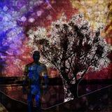 Un homme et un arbre Image libre de droits