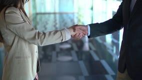 Un homme et une femme d'affaires se serrant la main clips vidéos