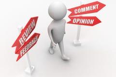 Un homme, le client ou toute autre personne pense à sa rétroaction, commentaire, réponse, examen ou avis à une question ou à un a Images stock