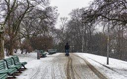 Un homme marchant avec son bébé en parc photo stock