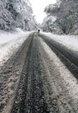Un homme marchant par la neige de régfion boisée Photos libres de droits