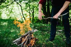Un homme met un bâton dans le feu, repos dans la nature La branche est aux mains de l'homme photo libre de droits