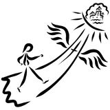 Un homme montant Christian Path au royaume merveilleux illustration stock