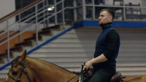 Un homme montant un cheval brun autour de l'arène Race de cheval de Don clips vidéos