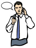 Un homme parlant d'un téléphone portable. JPG et ENV Photo libre de droits