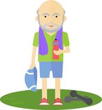 Un homme plus âgé buvant après sport Photographie stock libre de droits