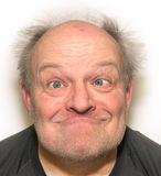 Un homme plus âgé de visage drôle Image stock