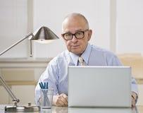 Un homme plus âgé sur l'ordinateur portatif. Photographie stock libre de droits