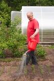 Un homme plus âgé travaille dans un jardin photographie stock