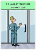 Un homme près de la porte en verre du magasin illustration stock