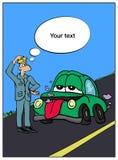 Un homme près de la voiture verte sur la route illustration libre de droits