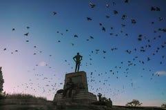Un homme se tenant sur une pierre Images libres de droits