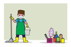 Un homme tenant le balai et le réservoir d'eau - Concept plat de bande dessinée et de fond des affaires de nettoyage Photo stock