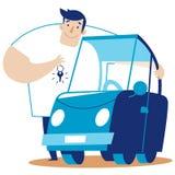 Un homme étreint une voiture Image stock