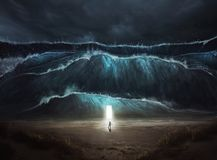 Un homme trouve la sécurité dans la tempête image libre de droits