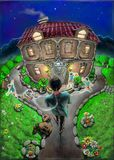 Un homme, une construction individuelle, enfants et ciel Image stock