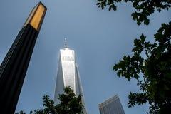 Un horizonte Apple grande 4 de New York City los E.E.U.U. de la construcción del World Trade Center Imagen de archivo libre de regalías