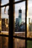 Ventana de la tarde del horizonte del Lower Manhattan Fotografía de archivo libre de regalías