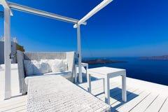 Un hotel de lujo agradable en Fira, Santorini Foto de archivo