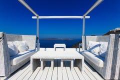 Un hotel de lujo agradable en Fira, Santorini fotos de archivo