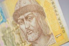 Un hryvnia, macrofotografia ucraina di valuta Fotografia Stock