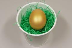 Un huevo del oro en una hoja blanca Imágenes de archivo libres de regalías
