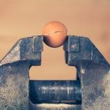 Un huevo que se agrieta bajo presión por parte de vicio Imagen de archivo libre de regalías