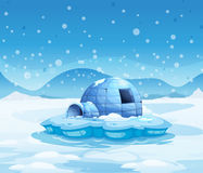 Un iceberg avec un igloo illustration stock