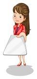 Un'icona femminile di affari che tiene un contrassegno vuoto Immagini Stock