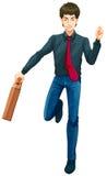 Un'icona maschio di affari con una valigia Fotografia Stock Libera da Diritti