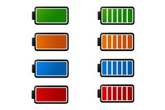 Un'icona variopinta semplice della batteria isolata su un fondo bianco Fotografia Stock