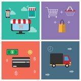 Un icono del símbolo para las compras en línea Las funciones de show business se pueden utilizar en diversos medios Podemos enten ilustración del vector