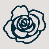 Un icono monocromático para la flor de la rosa Fotografía de archivo libre de regalías
