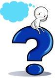Un icono que se sienta en un signo de interrogación Imagen de archivo