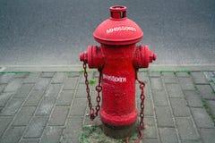 Un idrante del fuoco rosso accanto alla strada Fotografia Stock