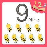 Un illustratore di un animale di nove numeri Fotografie Stock