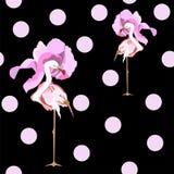 Un'illustrazione astratta del fenicottero rosa due in cappelli rosa alla moda del fiore Fotografia Stock Libera da Diritti