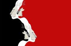 Un'illustrazione astratta dell'acquerello della testa del leone di due paia Fotografie Stock Libere da Diritti