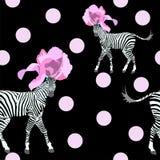 Un'illustrazione astratta di due barrata & di x28; bianco e black& x29; Zebra in cappelli rosa alla moda del fiore Fotografia Stock