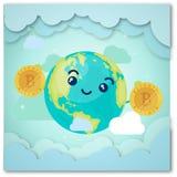 Un'illustrazione caratterizzando un assortimento il carattere cartoonish della terra che sorride e che tiene bitcoin dorato royalty illustrazione gratis
