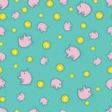 Un'illustrazione che consiste delle monete e dei porcellini salvadanaio Fotografia Stock
