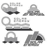Un'illustrazione che consiste di cinque immagini dei pannelli solari Immagine Stock